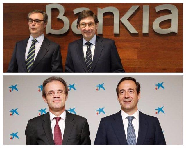 El presidente y el consejero delegado de Bankia, José Ignacio Goirigolzarri y José Sevilla, y el presidente y consejero delegado de CaixaBank, Jordi Gual y Gonzalo Gortázar