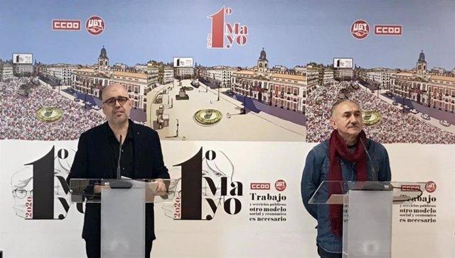 El secretari general de CCOO, Unai Sordo, i el de la UGT, Pepe Álvarez