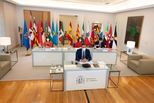 El president del Govern espanyol, Pedro Sánchez, durant la XXII Conferència de Presidents al palau de La Moncloa.