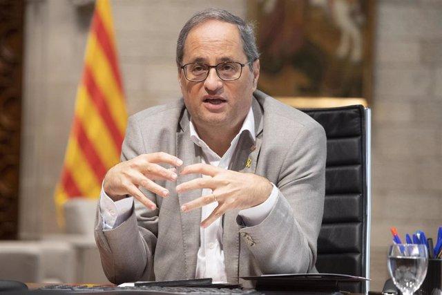 El president de la Generalitat, Quim Torra, durant la reunió telemàtica de la Conferència de Presidents autonòmics.
