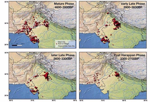 Esta figura muestra los asentamientos de la civilización del valle del Indo durante las diferentes fases de su evolución.