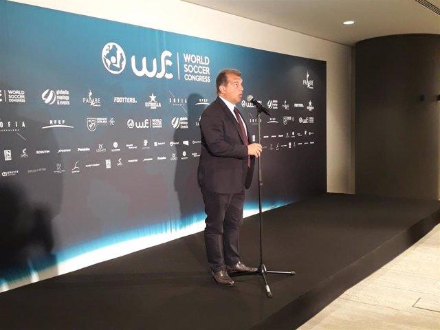 El expresidente del FC Barcelona Joan Laporta en el 'World Soccer Congress' de 2019