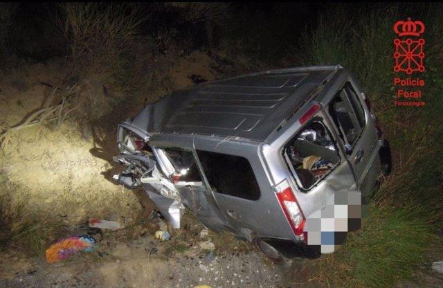 Vehículo en el que viajaba el fallecido en un accidente de tráfico en Legarda