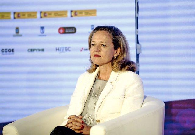 La vicepresidenta tercera d'Assumptes Econòmics i Transformació Digital, Nadia Calviño, durant la inauguració de la Trobada de l'Economia Digital i les Telecomunicacions d'Ametic, a Madrid (Espanya), a 2 de setembre de 2020.