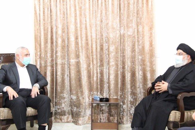 O.Próximo/Líbano.- Los líderes de Hamás y Hezbolá escenifican su alianza con una