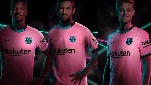 Fútbol.- El amanecer de Barcelona inspira la tercera camiseta, en rosa y verde,