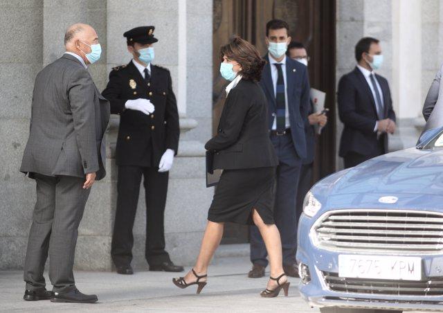 La fiscal general del Estado, Dolores Delgado, llega al Palacio de Justicia, para asistir al acto de apertura del año judicial 2020/2021, en Madrid (España), a 7 de septiembre de 2020.