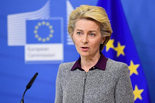 Ursula von der Leyen en una comparecencia en Bruselas
