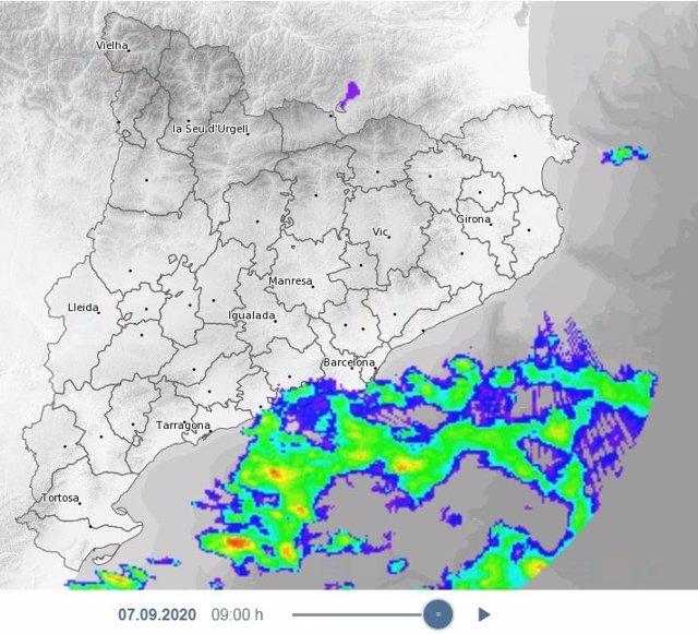 Mapa de avisos de lluvia en Catalunya el 7 de septiembre de 2020.