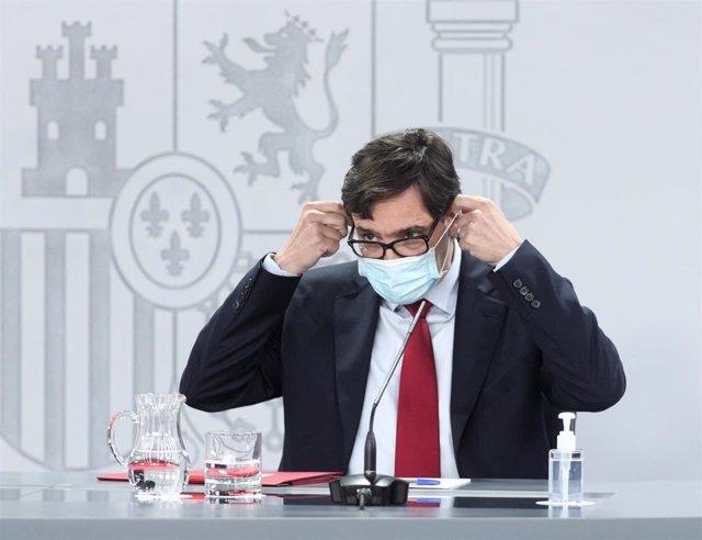 El ministro de Sanidad, Salvador Illa, comparece en rueda de prensa posterior a la celebración de la conferencia de presidentes, en Moncloa, Madrid (España), a 4 de septiembre de 2020.