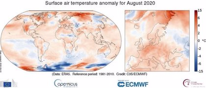 Agosto de 2020, cuarto más cálido en los registros globales