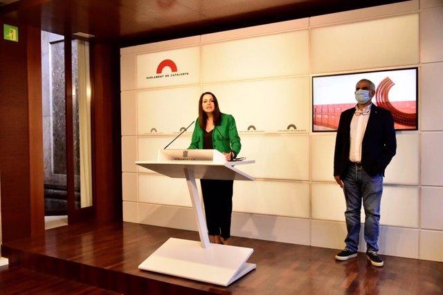 La líder de Cs, Inés Arrimadas, en rueda de prensa en el Parlament de Catalunya el 7 de septiembre de 2020