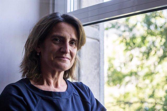 La vicepresidenta cuarta del Gobierno y ministra para la Transición Ecológica, Teresa Ribera, posa tras una entrevista con Europa Press en la sede del Ministerio, en Madrid (España) a 4 de agosto de 2020.