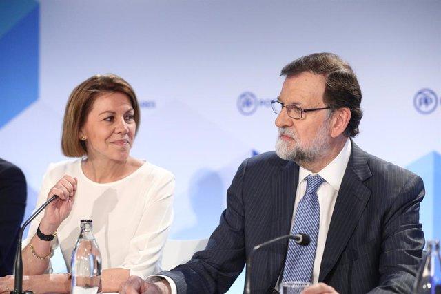 María Dolores de Cospedal y Mariano Rajoy durante una Junta Directiva Nacionanal del PP