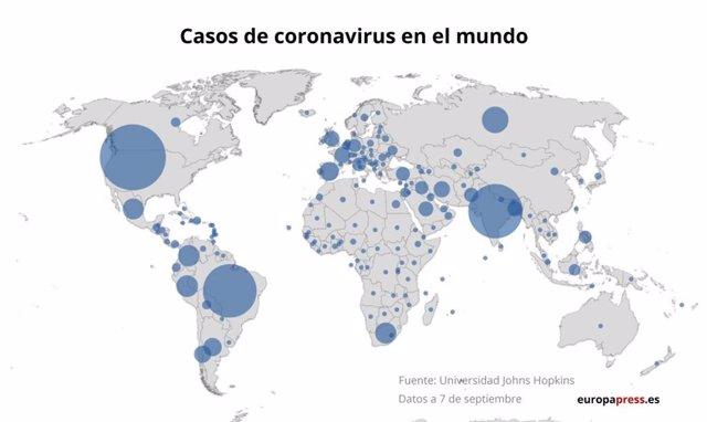 Coronavirus.- El último balance de casos del coronavirus en Latinoamérica y el r