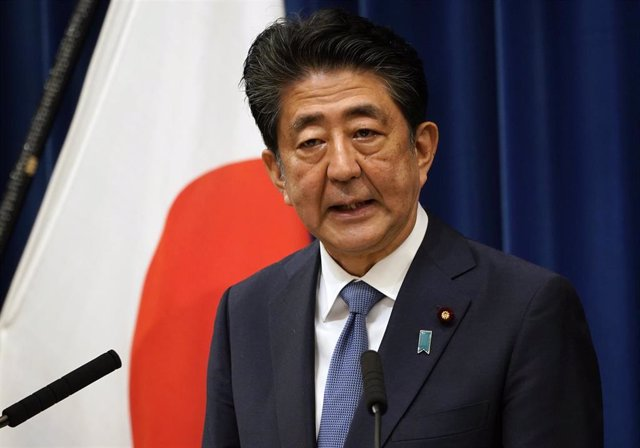 28 August 2020, Japan, Tokyo: Japanese Prime Minister Shinzo Abe speaks during a press conference at the Prime Minister Official Residence. Citing his health, Abe says he will step down as premier after seven years and eight months in office. Photo: -/ZUM