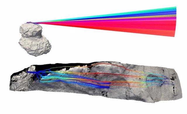 El cometa 67P/CG se vuelve más poroso hacia su interior