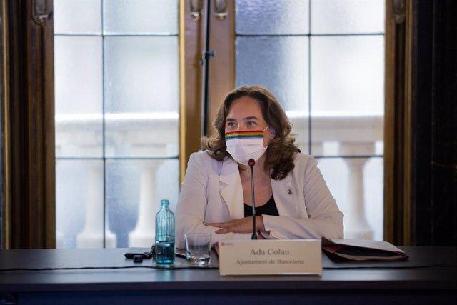 L'alcaldessa de Barcelona, Ada Colau, durant la celebració de la Junta Local de Seguretat de Barcelona a l'Ajuntament. Catalunya (Espanya), 29 de juliol del 2020.