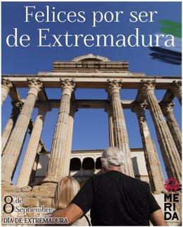 Lema del Ayuntamiento de Mérida para celebrar el Día de Extremadura 2020