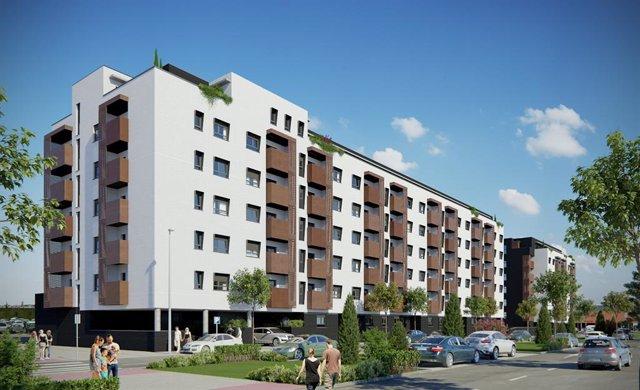 Promoción de viviendas protegidas en alquiler que la filial de Pryconsa, Resydenza, levantará en Torrejón de Ardoz (Madrid)