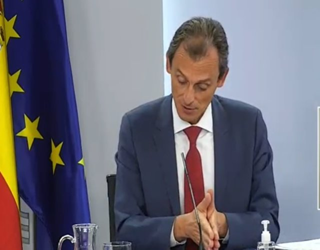 El ministro de Ciencia, Pedro Duque, en la rueda de prensa posterior al Consejo de Ministros