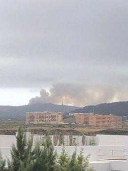 Incendio en el paraje Cortijo la Joya en Algeciras
