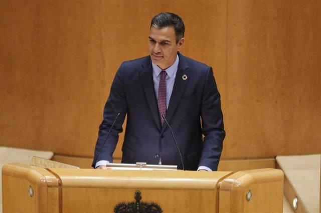 El presidente del Gobierno, Pedro Sánchez, comparece ante el Pleno del Senado, tras el parón estival, en Madrid (España), a 8 de septiembre de 2020. Sánchez comparece a petición propia en la Cámara Alta para explicar las líneas generales de actuación del