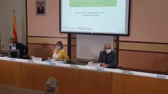 La consellera Alba Vergés i el conseller Josep Bargalló, en roda de premsa