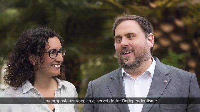 Imatge de Marta Rovira i Oriol Junqueras durant l'acte per videoconferència de presentació del seu llibre 'Tornarem a vèncer (i com ho farem)'.
