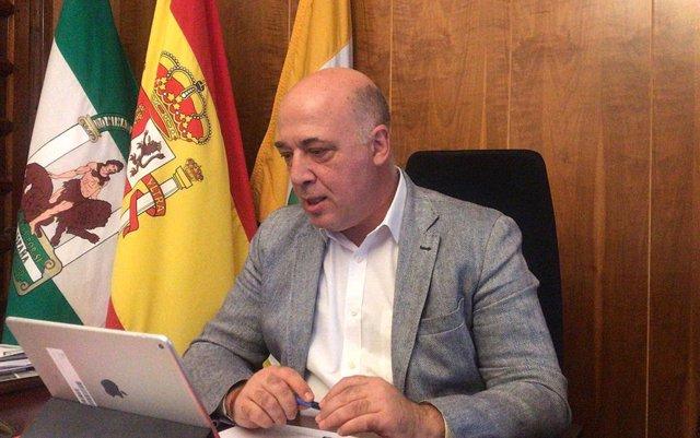 El presidente de la Diputación de Córdoba, Antonio Ruiz, durante un encuentro telemático con el Consejo de Alcaldes