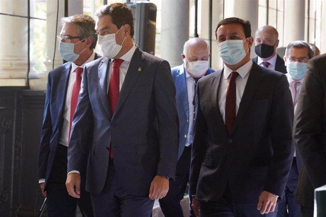 El presidente de la Junta de Andalucía, Juanma Moreno, ha mantenido  un encuentro en el Palacio de San Telmo con los presidentes de las diputaciones provinciales de Andalucía. Sevilla a 8 de septiembre 2020