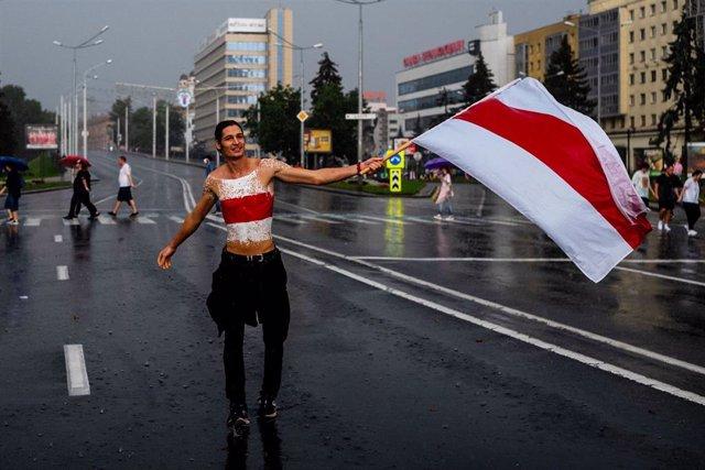 Manifestación contra Lukashenko en Minsk