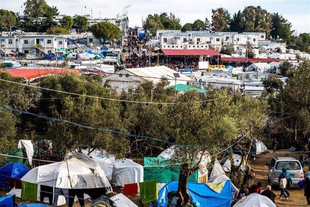 Vista general del campo de refugiados de Moria, en la isla griega de Lesbos