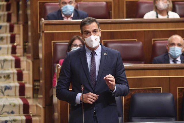 El president del Govern central, Pedro Sánchez, intervé durant la sessió de control al Congrés dels Diputats. Madrid (Espanya), 9 de setembre del 2020.