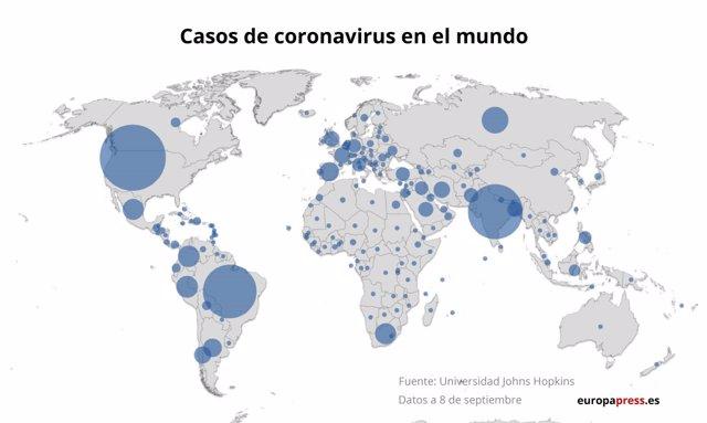 Mapa con casos de coronavirus a 8 de septiembre