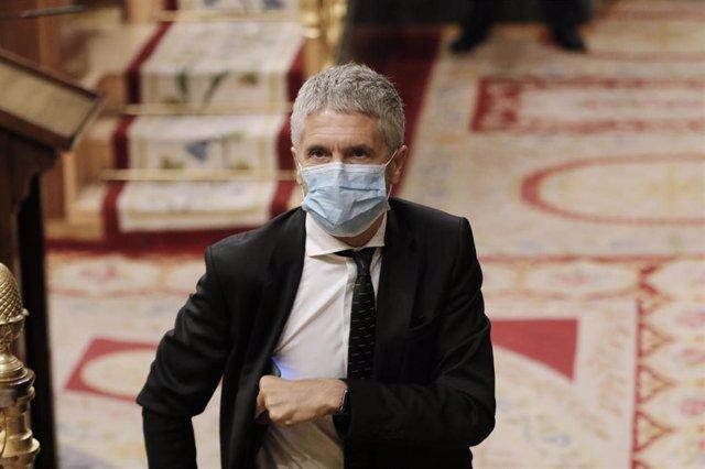 El ministro del Interior, Fernando Grande Marlaska, durante una comparecencia en el Congreso