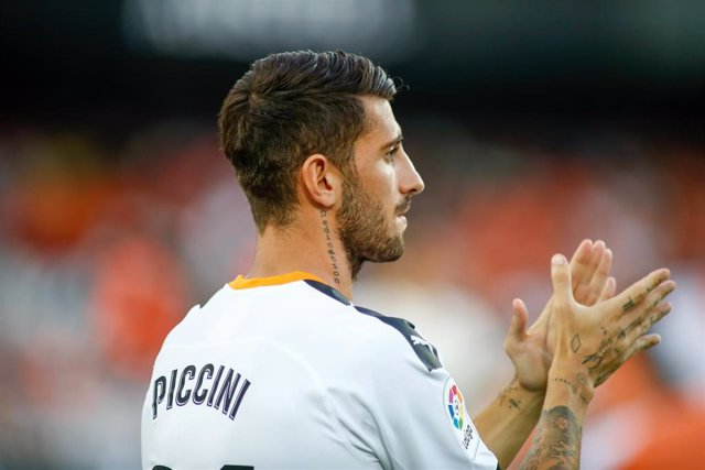 Cristiano Piccini of Valencia during the friendly football match played between Valencia CF and Inter de Milan at Mestalla Stadium in Valencia, Spain, on August  10, 2019.