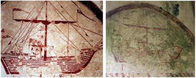 Uno de los barcos de las excepcionales pinturas murales del lazareto de Abaño, en 2015 y en la actualidad