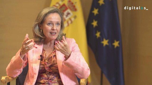 La vicepresidenta tercera y ministra de Asuntos Económicos y Transformación Digital, Nadia Calviño, durante su intervención en DigitalES Summit