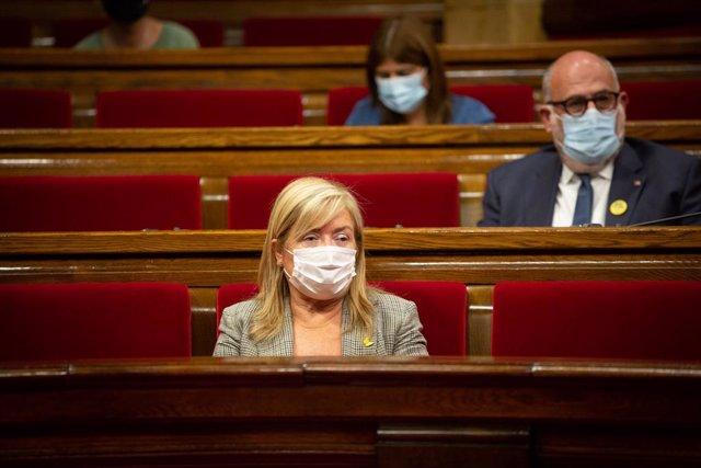 La consellera de Cultura de la Generalitat, Àngels Ponsa, en el pleno del Parlament del 9 de septiembre de 2020
