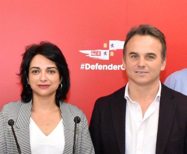 La procuradora socialista Alicia Palomo y el portavoz del grupo en la Diputación de Segovia, Máximo San Macario.
