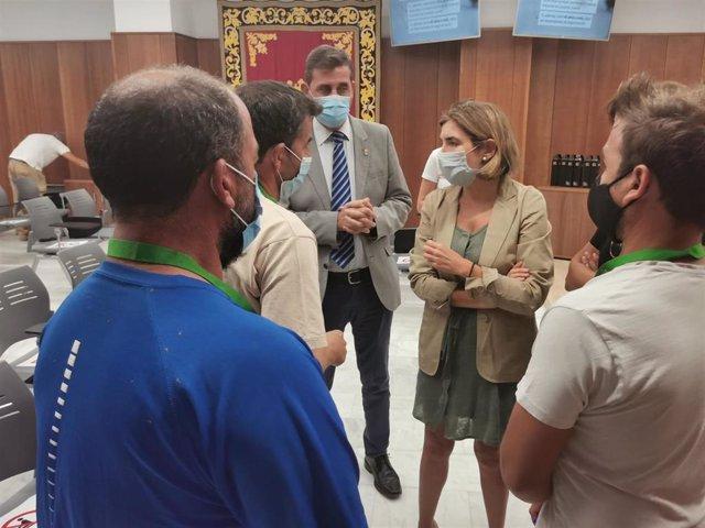La consejera de Empleo, Rocío Blanco, este miércoles en Pilas (Sevilla) en el acto de entrega de credenciales del Plan AIRE (Activación, Impulso y Recuperación del Empleo).
