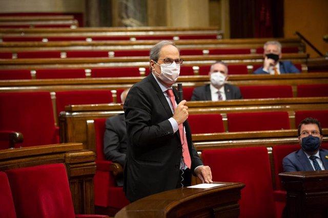 El presidente de la Generalitat, Quim Torra, durante la sesión de control en el pleno del Parlament del 9 de septiembre.