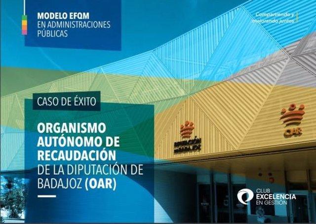 Cartel de la inclusión del OAR de la Diputación de Badajoz como caso de éxito en el listado del Club de Excelencia en Gestión