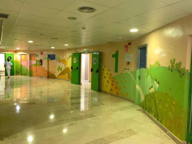 Murales en la zona de pediatría del Hospital de Mérida