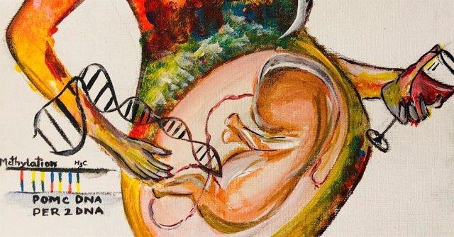 Dibujo de los efectos del alcohol durante el embarazo.