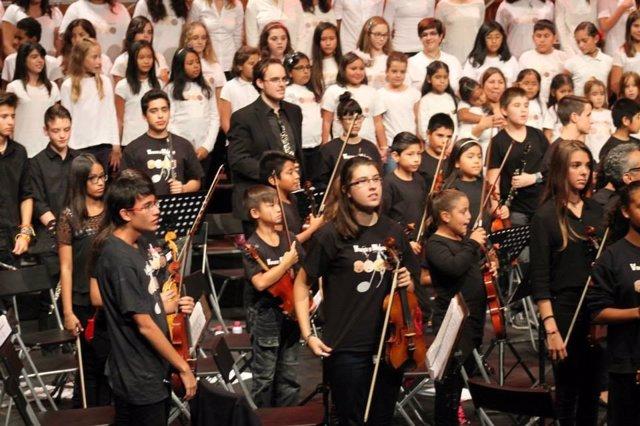 La Orquesta Vozes durante un concierto, en una imagen de archivo