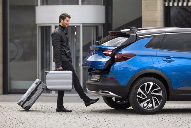 Portón eléctrico de un modelo de Opel.