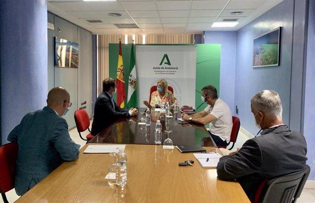 La subdelegada del Gobierno de la Junta de Andalucía en el Campo de Gibraltar, Eva Pajares, en una reunión con el director del Área de Planificación de Extenda-Agencia Andaluza de Promoción Exterior, Juan Cruzado, y técnicos autonómicos