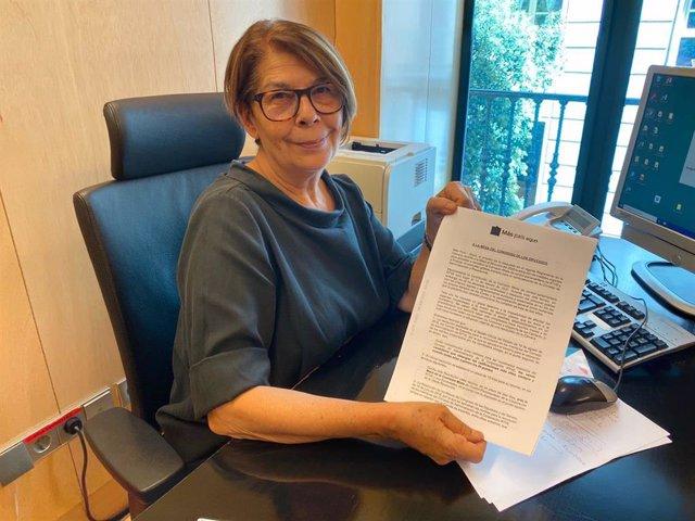 La diputada de Más País-Equo, Inés Sabanés, presenta un escrito a la Mesa del Congreso para que se retome el concurso de RTVE